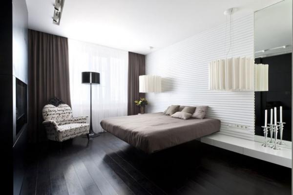 Moderne Wohnung Moskau Wandgestaltung Schlafzimmer Textur Weiß